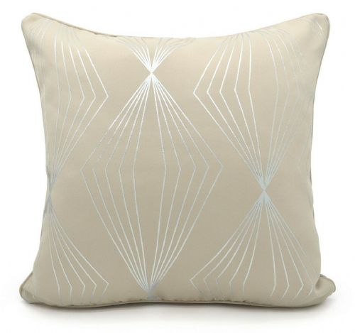 Geometric Onyx Metallic Foil Print Design Filled Scatter Cushion Cream